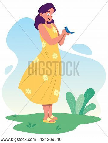 Full Length Illustration Of Young Woman Holding Little Blue Bird In Her Hands.
