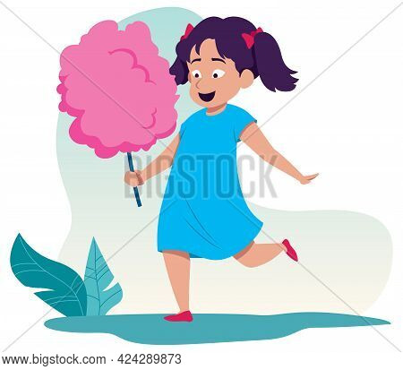 Cartoon Illustration Of Little Girl Enjoying Pink Cotton Candy.