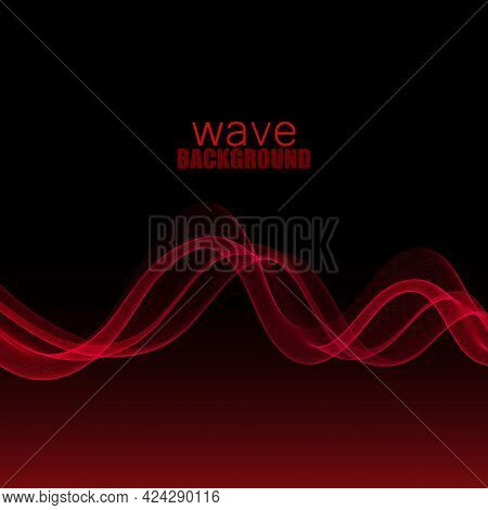 Red Smooth Transparent Wave Stream Line Abstract Header Layout. Vector Illustration