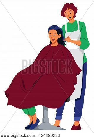 Illustration Of Female Hairdresser Cutting The Hair Of A Young Woman.