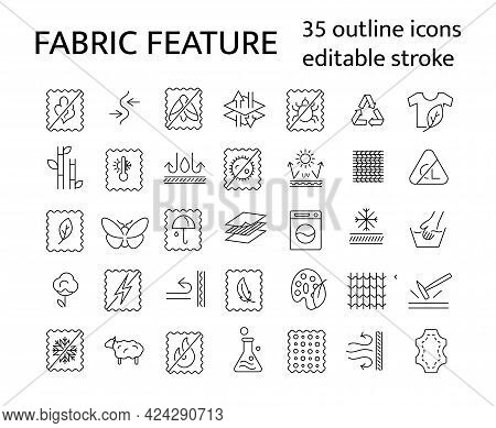 Fabric Feature Outline Icons Set. Textile Industry. Different Properties Of Fiber