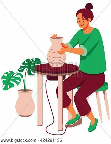 Flat Design Illustration With Woman Making Pottery Vase.