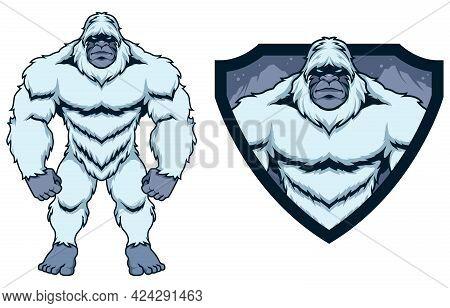 Mascot Illustration Legendary Forest Creature Bigfoot On White Background.