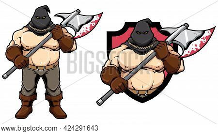 Mascot Of Medieval Executioner Isolated On White And In 2 Versions.