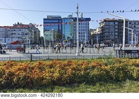 Istanbul, Turkey - July 26, 2019: Panorama Of Taksim Square At The Center Of City Of Istanbul, Turke