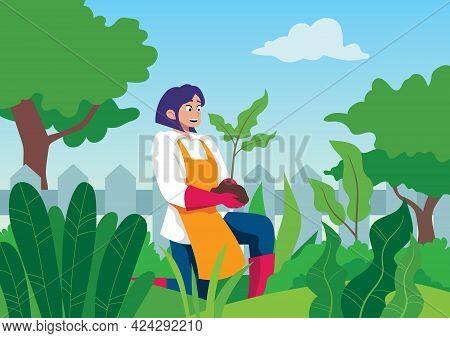Flat Design Illustration Of Young Woman Working In Her Garden.