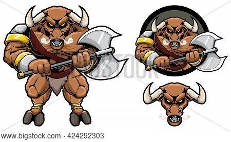 Mascot With Minotaur Holding Axe On White Background.