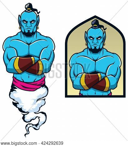 Mascot Illustration Of Muscular Genie Awaiting Your Commands.
