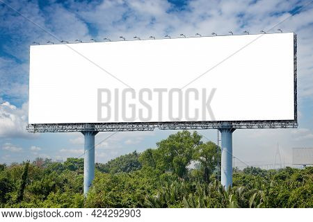 Blank Billboard On The Sideway In The Park. Image For Copy Space, Advertisement, Text And Object. Wh