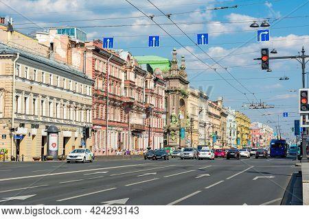 Saint Petersburg, Russia - June 2021: Nevsky Prospect Panorama In Saint Petersburg