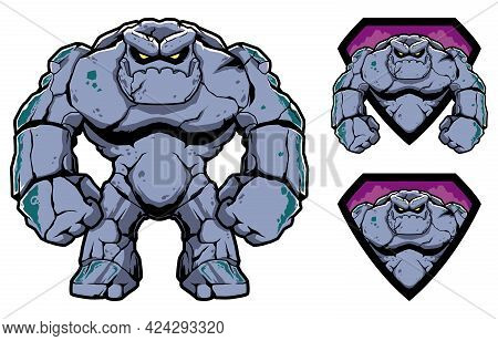 Mascot With Fantasy Stone Giant On White Background.
