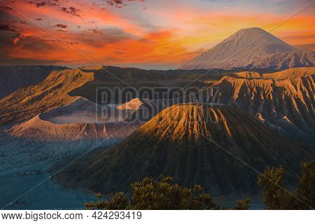 Mount Bromo Volcano During Sunrise The Magnificent View. Mount Bromo Volcano, Is An Active Volcano A