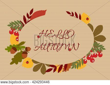 Vector Background Illustration With Text Hello Autumn, Fall Foliage, Rowan Berries, Acorns And Ladyb