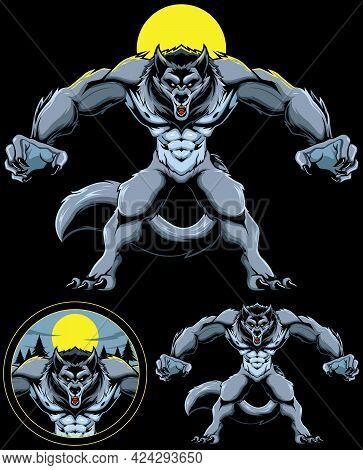 Mascot Illustration Of Creepy Werewolf Looking For Prey At Night.