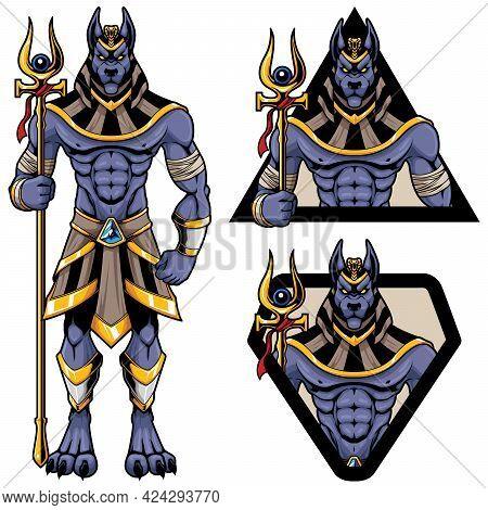 Mascot Illustration Of Egyptian God Anubis On White Background.