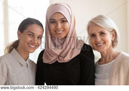 Head Shot Portrait Diverse Colleagues With Asian Muslim Team Leader