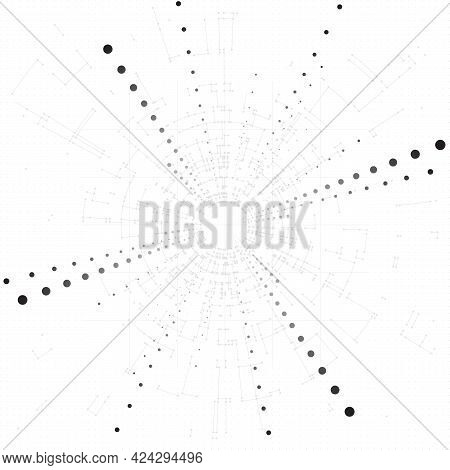Technology Background. Big Data Concept Background With Connected Lines And Dots. Business, Science,