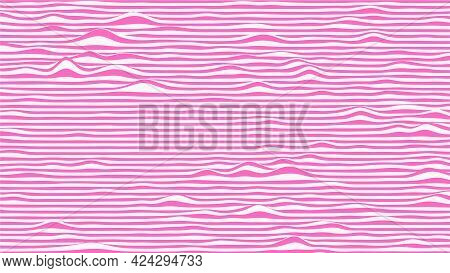 Abstract Waves Background In Pink And White Colors. Striped Surface With Wavy Distortion Effect, Vec