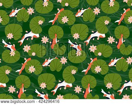 Koi Carp Fishes Under Green Lotus Leaves Seamless Pattern Vector Illustration. Many Goldfishes Swim