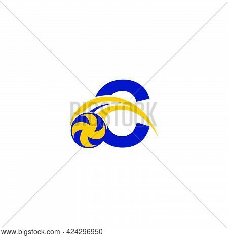 Letter C With Smashing Volley Ball Icon Logo Design Template Illustration