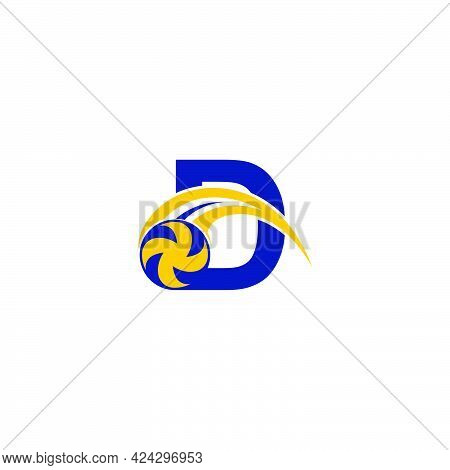 Letter D With Smashing Volley Ball Icon Logo Design Template Illustration