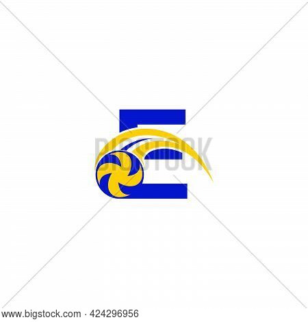 Letter E With Smashing Volley Ball Icon Logo Design Template Illustration