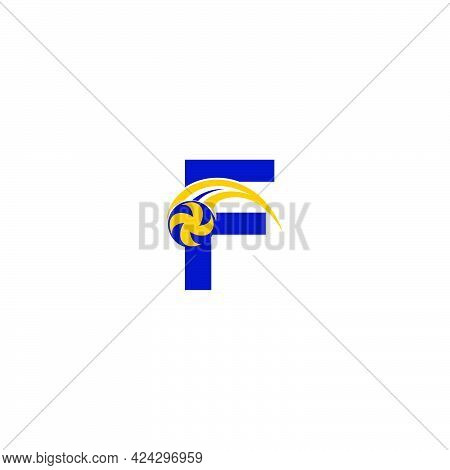 Letter F With Smashing Volley Ball Icon Logo Design Template Illustration