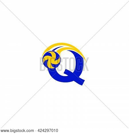 Letter Q With Smashing Volley Ball Icon Logo Design Template Illustration