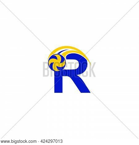 Letter R With Smashing Volley Ball Icon Logo Design Template Illustration