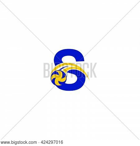 Letter S With Smashing Volley Ball Icon Logo Design Template Illustration