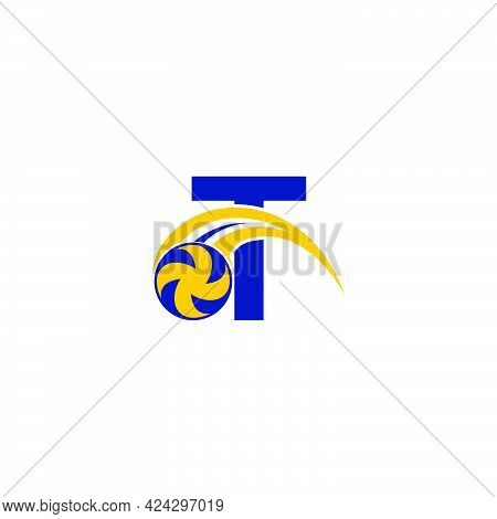 Letter T With Smashing Volley Ball Icon Logo Design Template Illustration