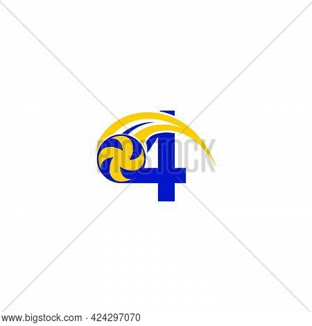 Number 4 With Smashing Volley Ball Icon Logo Design Template Illustration