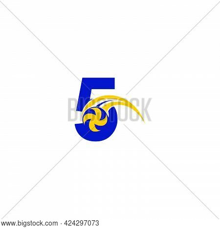 Number 5 With Smashing Volley Ball Icon Logo Design Template Illustration