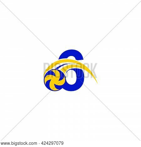 Number 6 With Smashing Volley Ball Icon Logo Design Template Illustration