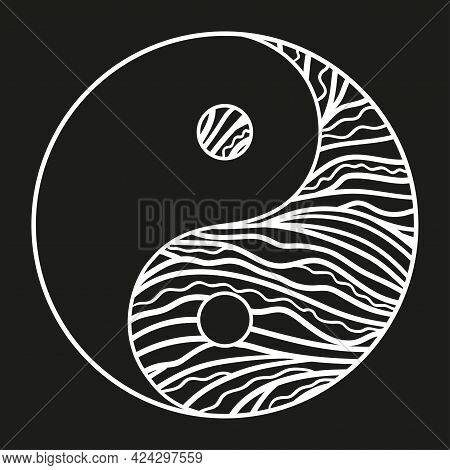 Yin And Yang. Hand Drawn Zen Symbol On Isolated Background. Freehand Art. Black And White Illustrati
