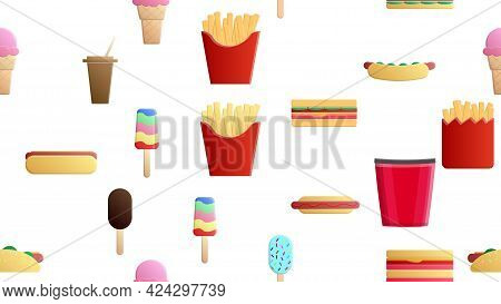 Endless White Seamless Pattern Of Delicious Food And Snack Items Icons Set For Restaurant Bar Cafe: