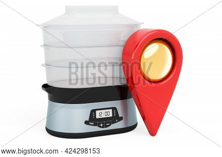 Map Pointer With Food Steamer. 3d Rendering Isolated On White Background