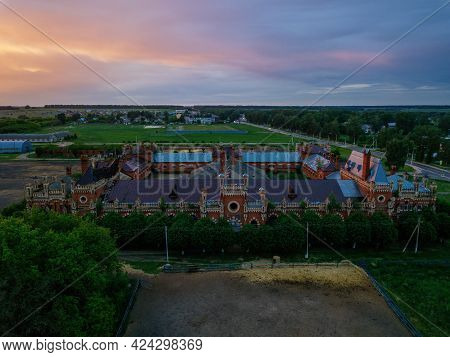 Aerial View Of Historical Horse Stables And Hippodrome In Starozhilovo, Ryazan Region