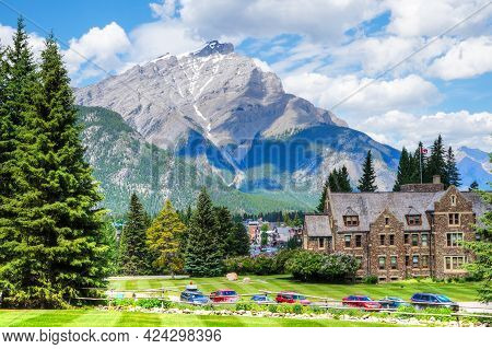 Cascade Mountain As Seen From Cascades Of Time Gardens At Banff National Park With The Historic Park