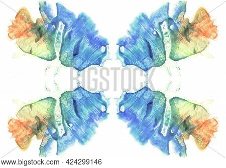 Watercolor Abstract Background. Colorful Symmetric Image. Blue, Orange, Yellow And Green Paint.