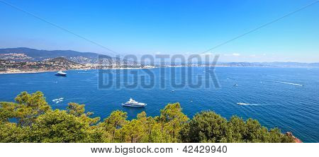 Cannes and La Napoule panoramic sea bay view yachts and boats from Theoule sur Mer. French Riviera Azure Coast or Cote d Azur Provence France poster