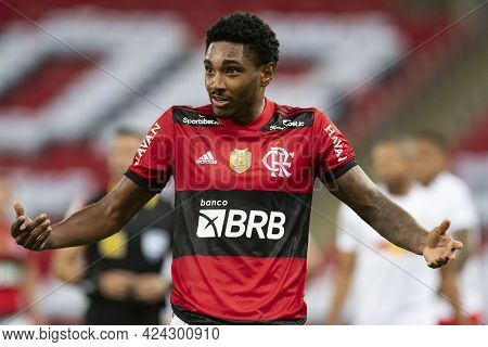 Rio, Brazil - June 19, 2021: Vitinho Player In Match Between Flamengo Vs Bragantino By 5st Round Of