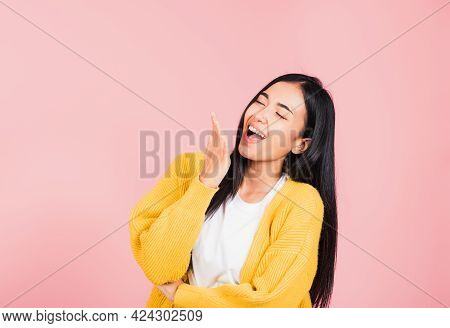 Happy Asian Portrait Beautiful Cute Young Woman Standing Winning And Surprised Excited Screaming Lau