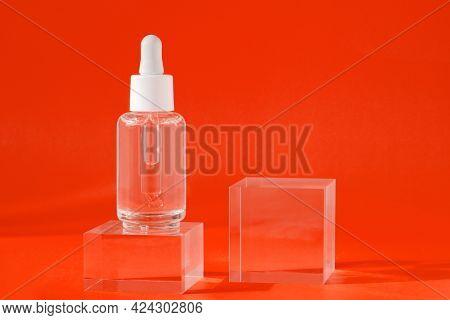 Mock Up Packaging, Product Design Branding. Cosmetic Serum Liquid Mockup In Transparent Bottle On Ac