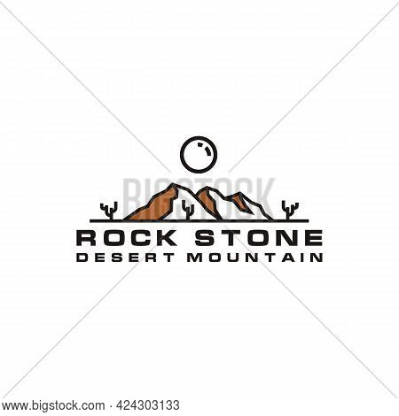 Line Art Desert Rock Mountain With Cactus Logo Design