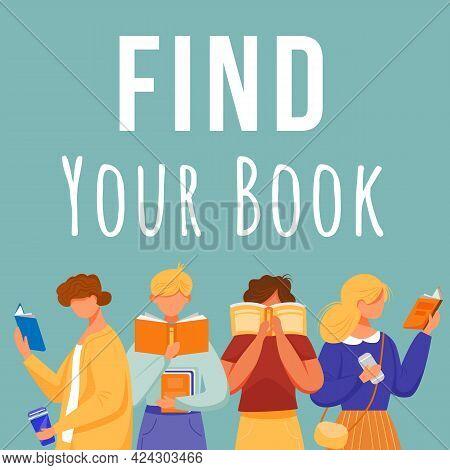Find Your Book Social Media Post Mockup. Bookcrossing. Bookshop. Advertising Web Banner Design Templ