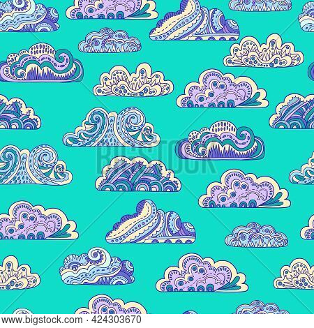 Seamless Pattern With Cute Ornamental Doodle Clouds On Green Background