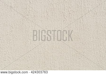 Plaster Wall Texture Background, Industrial Building Material. Beige Ecru Color Paint On The Wall Wi