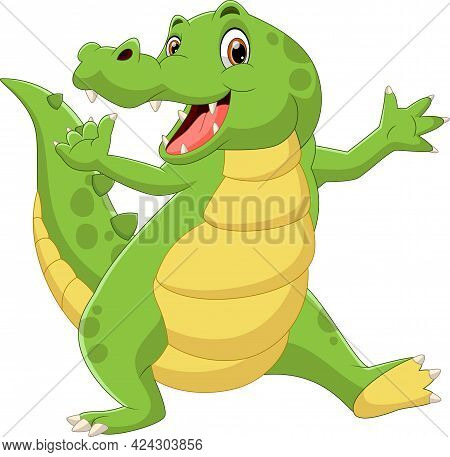 Cartoon Cute Baby Crocodile Waving On White Background