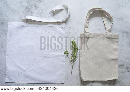 Two Canvas Bags, No Plastic, Zero Waste, Copy Space, Mocap. High Quality Photo
